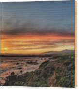 Sunset In Cambria Wood Print