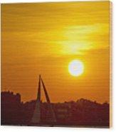 Sunset In Charleston South Carolina Sailboat Wood Print
