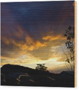 sunset in Cody wy Wood Print