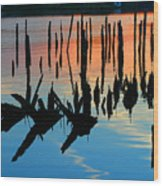 Sunset In Colonial Beach Virginia Wood Print