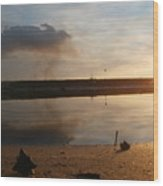 Sunset In Delta Wood Print