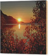 Sunset In Ersfjordbotn Wood Print
