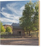 Sunset In Grafton Ghost Town I Wood Print
