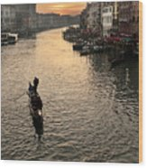 Sunset In Grand Canal Wood Print