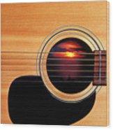 Sunset In Guitar Wood Print