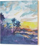Sunset In Hawaii Wood Print