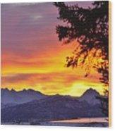 Sunset In Homer Alaska Wood Print