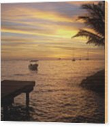 Sunset In Huahine Wood Print