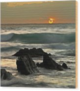 Sunset In Masua Beach Wood Print