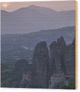 Sunset In Meteora Wood Print