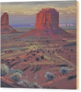 Sunset In Monument Valley Wood Print