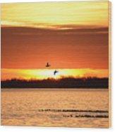 Sunset In Orange Wood Print