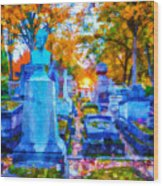 Sunset In Pere Lachaise Abstraction Wood Print