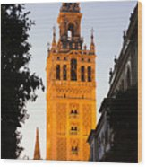 Sunset In Seville - A View Of The Giralda Wood Print