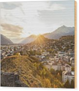 Sunset In Sion Wood Print