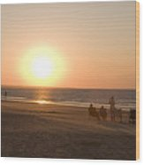 Sunset In Summertime On Beaches Wood Print
