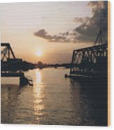 Sunset In Superior Wi Wood Print