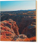 Sunset In The Badlands Wood Print