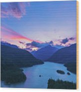 Sunset In The Diablo Lake, Wa Wood Print