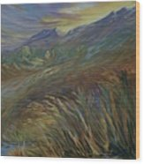 Sunset In The Mountains Wood Print