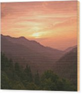 Sunset In The Smokies. Wood Print