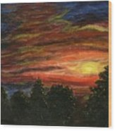 Sunset In Washington State Wood Print