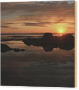 Sunset In Yachats Oregon Wood Print by Kami McKeon