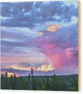 Sunset In Yellowstone Wood Print