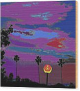 Sunset In Your Colorful Moon Wood Print