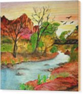 Sunset In Zion Wood Print