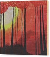 Sunset Into The Forest Wood Print