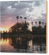 Sunset Island In Chaparral Lake Horizontal  Wood Print