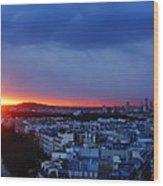 Sunset La Defense Paris France Wood Print
