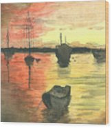 Sunset Lagoon Wood Print