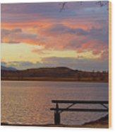Sunset Lake Picnic Table View  Wood Print