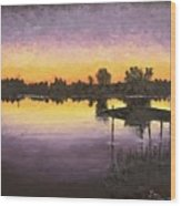 Sunset At Ryba Lake Wood Print