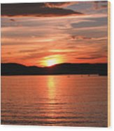 Sunset-lake Waukewan 1 Wood Print by Michael Mooney