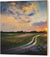 Sunset Lane Wood Print