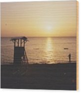 Sunset Life Guard Wood Print