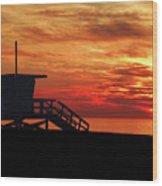 Sunset Lifeguard Station Series Wood Print