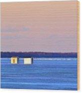 Sunset Light On The Ice Fishing Huts 2  Wood Print