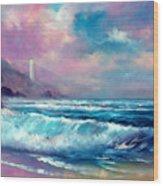 Sunset Lighthouse Wood Print