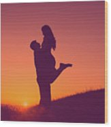 Sunset Love Wood Print
