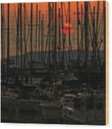 Sunset Marina Wood Print