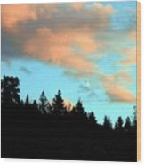Sunset Moon Wood Print