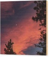 Sunset - Moonrise Wood Print
