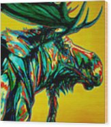 Sunset Moose Wood Print