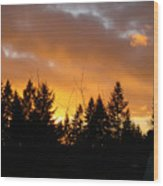 Sunset My Front Yard Wood Print