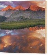 Sunset Of Fire Wood Print
