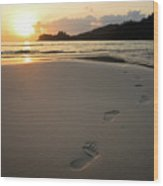Sunset On A Beach Wood Print